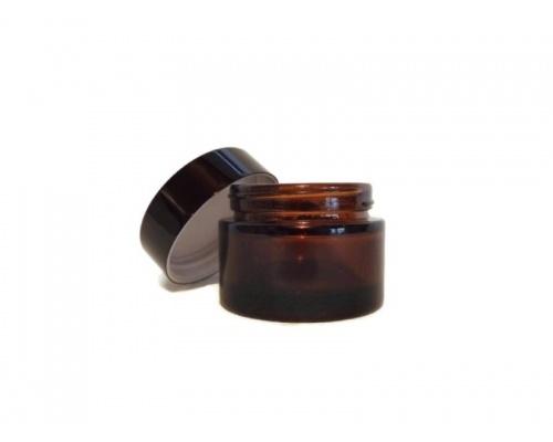 Βάζο γυάλινο Σκούρο με βιδωτό Μαύρο καπάκι