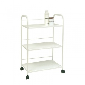 Three-tier white metal trolley A4444