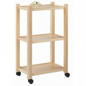 Three-tier wooden trolley natural finish A4474