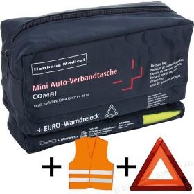 Φαρμακείο Α' βοηθειών αυτοκινήτου COMBI  3 σε 1 με τρίγωνο και γιλέκο   DIN 13164