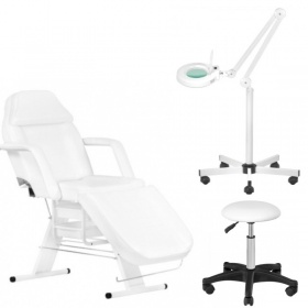 Beauty Kit Beauty Chair APHRODITE WHITE + Magnifying Glass with LED light + Stool ECONOMY