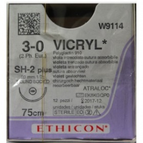 Absorbable Sutures Vicryl  Ethicon 3/0 taper pointed needle 20mm  75cm W9114