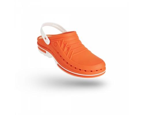 Σαμπώ Clog 05 λευκό-πορτοκαλί
