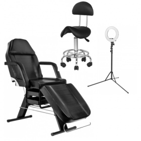 Beauty- Tattoo Pack- Chair APHRODITE BLACK+ Ring Lamp 12''35W+ Stool with backrest black BEAUTY