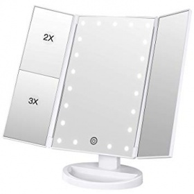 Professional Fodable 3X 2 X 1X Magnifying Beauty Mirror with 24 LED lights