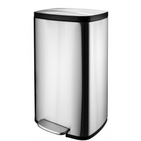 Wide-Step Rectangular Step Trash Can, Stainless Steel 50lit