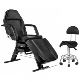 Beauty / Tattoo Pack- Chair APHRODITE BLACK+ Stool with backrest black BEAUTY