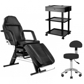 Beauty / Tattoo Pack- Chair APHRODITE BLACK+ SIRI Stool + BLACK PRO 1040A