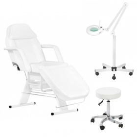 Beauty Kit Beauty Chair APHRODITE WHITE + Magnifying Glass with LED light + Stool CETI