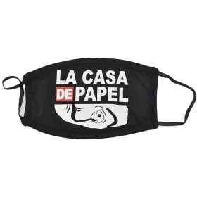 Μάσκα μαύρη υφασμάτινη πολλαπλών χρήσεων με φίλτρο LA CASA DE PAPEL