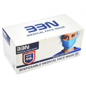 Μάσκες Χειρουργικές προστασίας με λάστιχο 50 τεμαχίων EN14683 98%  TYPE II BBN Medical