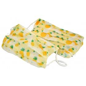 Μάσκες προστασίας παιδικές με λάστιχο για παιδιά 6-9 ετών 10 τμχ ανανάδες κίτρινη