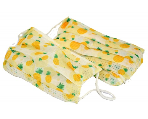 Μάσκες προστασίας παιδικές με λάστιχο κίτρινες με ανανάδες 6-9 ετών 10 τεμάχια