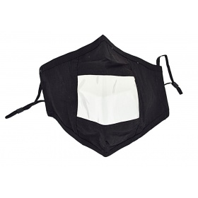 Breathable face mask with clear window for the deaf and hard of hearing black