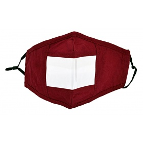Breathable face mask with clear window for the deaf and hard of hearing bordeaux
