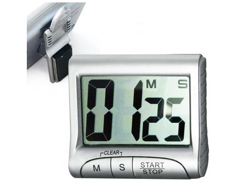 Ψηφιακό χρονόμετρο με μεγάλη οθόνη - ασημί