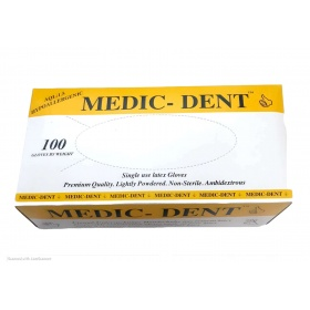Γάντια latex με πούδρα Medic-Dent 100τμχ λευκό