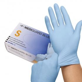 Γάντια εξεταστικά νιτριλίου MEDIGUARD®  BLUE Medline small 200τεμ
