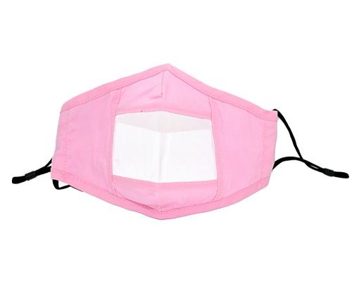 Μάσκα υφασμάτινη ανεμπόδιστης επικοινωνίας πολλαπλών χρήσεων ροζ
