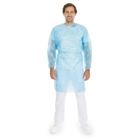 Disposable gown PP, full laminated light blue  with long sleeve (elastic) 10pcs