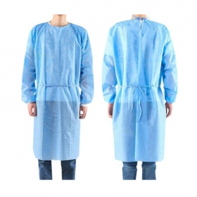 Non woven Disposable gown light blue  with long sleeve (elastic) 10pcs
