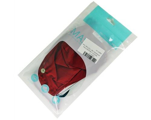 Μάσκα βαμβακερή κόκκινη με τσεπάκι και γυαλάκι προστασίας