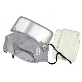Μάσκα υφασμάτινη πολλαπλών χρήσεων γκρι με τσεπάκι και γυαλάκι προστασίας