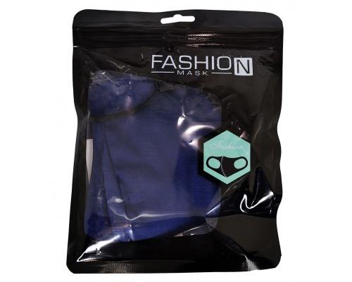Μάσκα βαμβακερή μπλε με τσεπάκι fashion