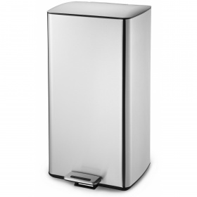 Wide-Step Rectangular Step Trash Can, Stainless Steel 30lit