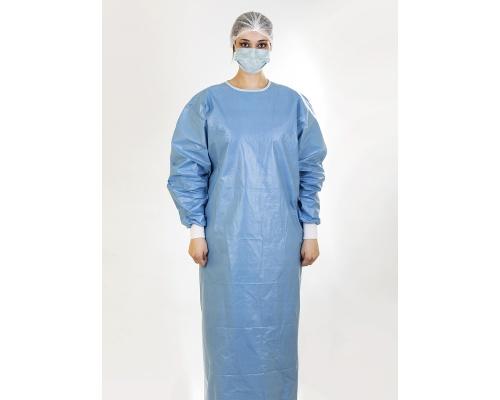 Ποδιές χειρουργικές προστασίας unisex γαλάζιες 56gr PP 100% αδιάβροχες μιας χρήσης