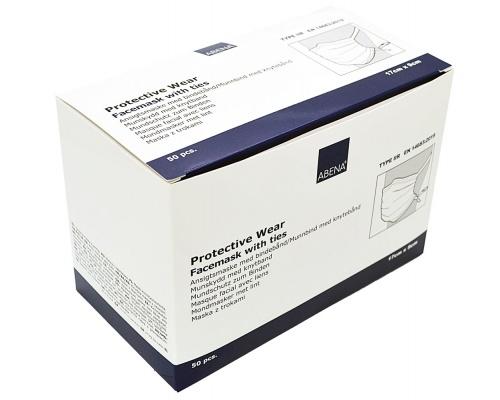 Μάσκες χειρουργικές προστασίας μπλε δετές 50 τεμαχίων ABENA 98% EN14683 TYPE IIR