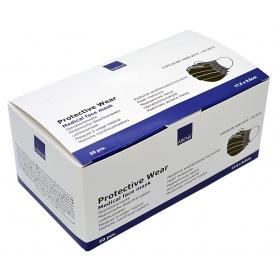Μάσκες χειρουργικές προστασίας μαύρες με λάστιχο 50 τεμαχίων ABENA 98% EN14683 TYPE IIR