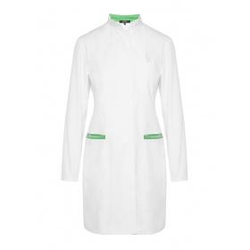 Ποδιά γυναικεία με μακρύ μανίκι DEPOLO λευκό/πράσινο