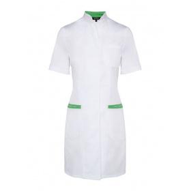 Ποδιά γυναικεία με κοντό μανίκι DEPOLO λευκό/πράσινο
