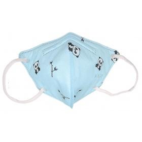 Παιδική μάσκα προσώπου FFP2 (KN95) υψηλής προστασίας γαλάζια με panda, 1 τεμάχιο