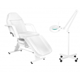 Beauty kit with chair APHRODITE WHITE + magnifying glass with LED light