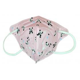 Παιδική μάσκα προσώπου FFP2 (KN95) υψηλής προστασίας ροζ με panda, 1 τεμάχιο