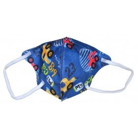 Παιδική μάσκα προσώπου FFP2 (KN95) υψηλής προστασίας μπλε με αυτοκινητάκια, 1 τεμάχιο