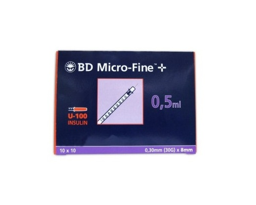 BD Micro-Fine σύριγγα ινσουλίνης 0,5ml 30G x 8.00mm 10 τεμάχια