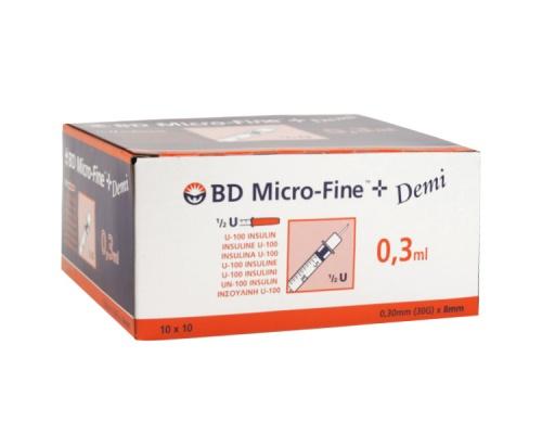 BD micro-fine σύριγγα ινσουλίνης 0,3ml 30G x 8mm 10 τεμάχια