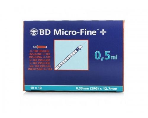 BD Micro-Fine σύριγγα ινσουλίνης 0,5ml 29G x 12,7mm 10 τεμάχια
