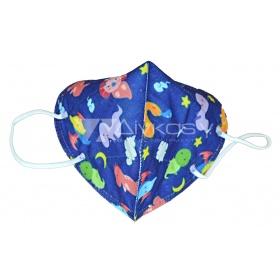 Παιδική μάσκα προσώπου FFP2 (KN95) υψηλής προστασίας μπλε με ζωάκια/σχεδιάκια, 1 τεμάχιο